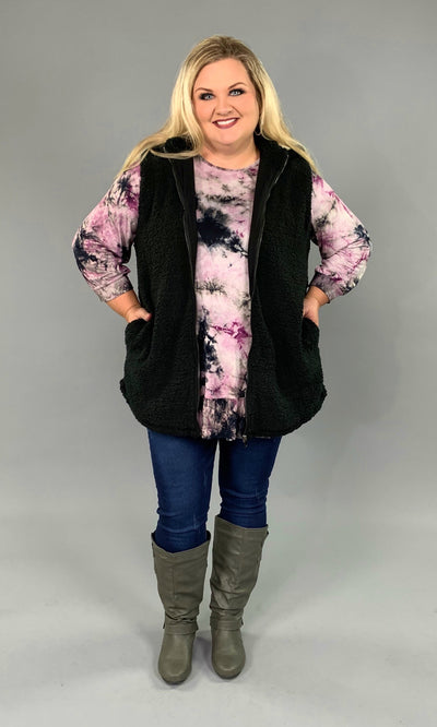 OT-F {Time To Think} Black Cozy Sherpa Vest with Hood SALE!