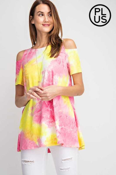 OS-C {Laffy Taffy} Pink/Yellow Tie-Dye Top PLUS SIZE 1X 2X 3X