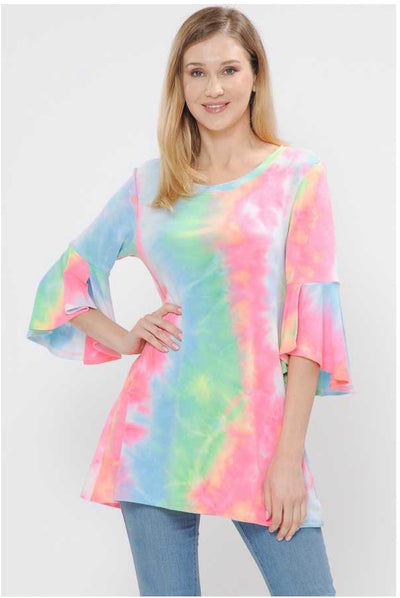 PQ-A {Summer Breeze} Multi Pastel Tunic PLUS SIZE 1X 2X 3X