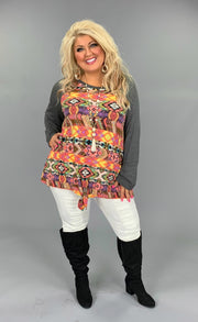 CP-E {I'm With The Band} Coral Aztec Print Top with Gray Contrast Sleeves SALE!! Extended Plus