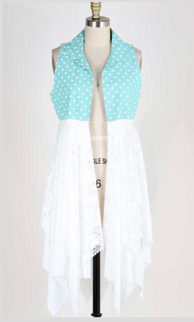 OT-D {Call The Dots} Mint Polka-Dot Lace Vest Cardigan SALE!!