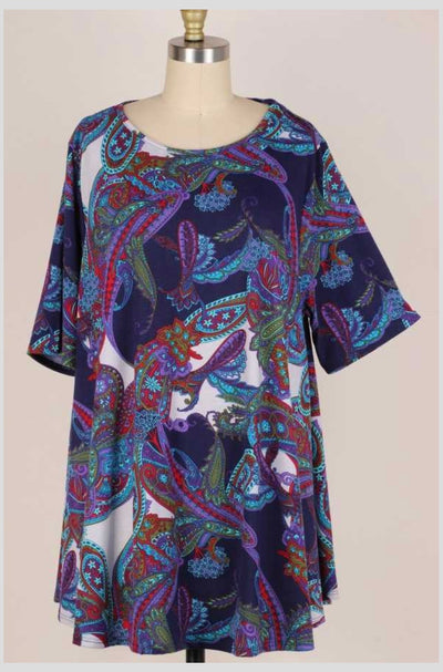 65 PSS-Q {NYC Nights} Purple Paisley Printed Tunic EXTENDED PLUS SIZE 3X 4X 5X