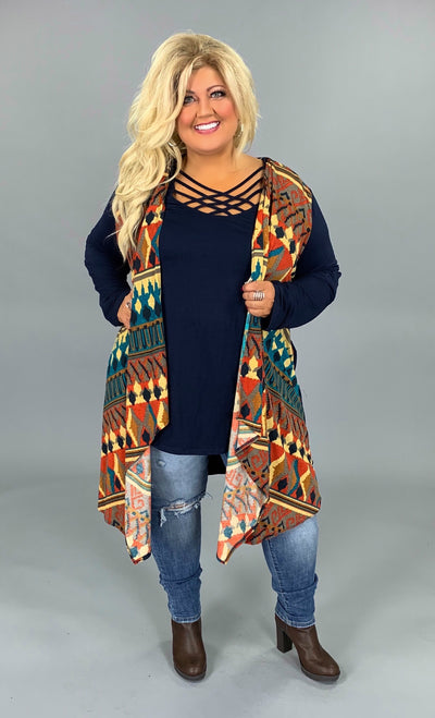 OT-V {You Need This} Asymmetrical Navy Aztec Print Cardigan