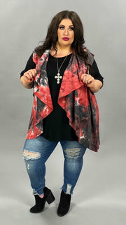 19 OT-V {Jump Right In}  SALE!! Red Black Tie Dye Vest PLUS SIZE XL 2X 3X