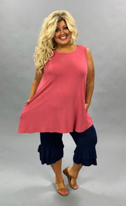 SV-H (Only One) Rose Sleeveless Tunic With Pockets PLUS SIZE 1X 2X 3X SALE!!