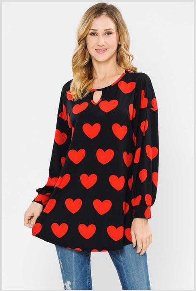 45-GT-D  (Midnight Hearts) Black, Red Heart Tunic PLUS SIZE 1X 2X 3X