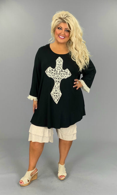 GT-H {Most Loved} Black 3/4 Sleeve Tunic W/Crochet Cross EXTENDED PLUS SIZE 3X 4X 5X 6X