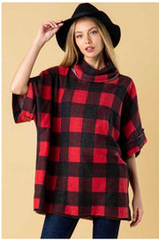PQ-B {Memories Of You} Red Black Plaid Cowl Neck Top PLUS SIZE XL 2X 3X