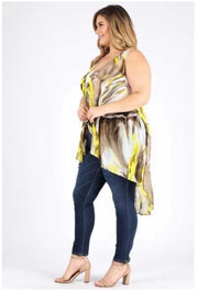 OT-B/H {Queen Bee} Sheer Yellow/Brown Asymetrical Vest PLUS SIZE 3X