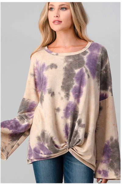 PLS-A {Knot For Me} Tan  Purple Tie Dye Knot Hem Tunic PLUS SIZE XL 2X 3X