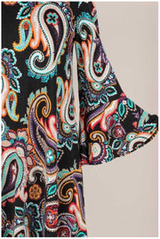 20 PQ-B {Have Hope} Black Paisley Bell Sleeve Tunic PLUS SIZE XL 2X 3X