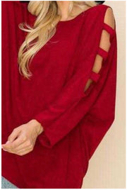 20 OS-C {Just With You} SALE!!  Maroon Cut Out Sleeve Knit Top PLUS SIZE XL 2X 3X
