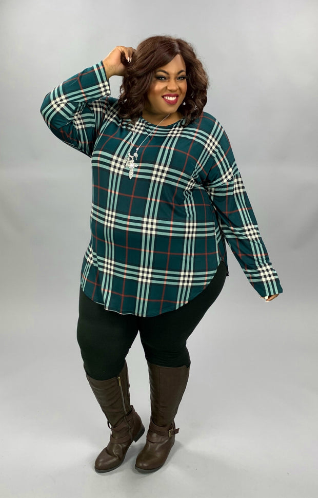 PLS-H {Evergreen} Emerald Rust Plaid Long Sleeve Tunic EXTENDED PLUS SIZE 3X 4X 5X