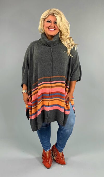CP-Q {Sweet Talker} Charcoal/Multi-Striped Kimono Sweater