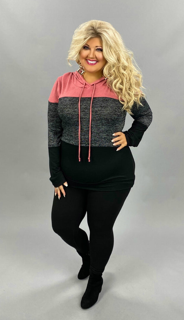 29 HD-B {On To Better}  SALE!! Rose Grey Colorblock Hoodie PLUS SIZE XL 2X 3X
