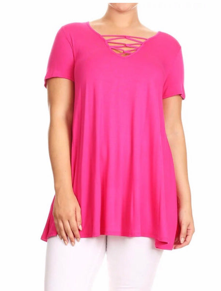 SSS-N {Gone To Town} Fuchsia Tunic with Detailed V-Neck