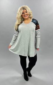 43-CP-H {Western Girl}  SALE!! Grey Tunic with Aztec Sleeves CURVY BRAND EXTENDED PLUS 3X 4X 5X 6X