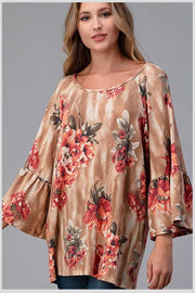 33 PQ-R {Find my way} Tan Coral Floral Bell Sleeve Tunic Plus Size 1X 2X 3X