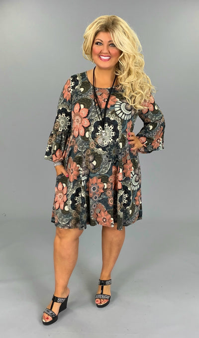 PQ-T (I'll Be Yours) Floral Printed Dress W/ Bell Sleeves PLUS SIZE 1X 2X 3X