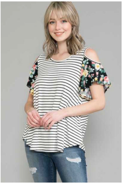 48 OS-B {Always A Joy} Ivory Black Stripe Floral Sleeve Top EXTENDED PLUS SIZE 4X 5X 6X