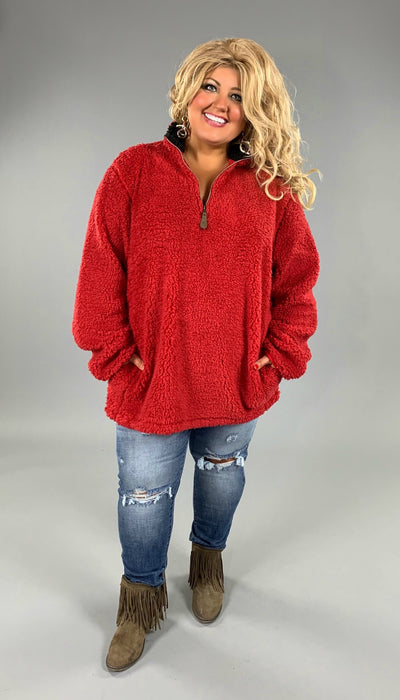 CP-Y Red Soft Cozy Sherpa Pullover {C.C. Beanie Brand!}