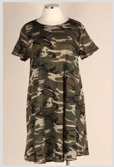 PSS-O {Can't Hide} Green Camo Print Short Sleeve Dress EXTENDED PLUS SIZE 3X 4X 5X