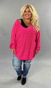 OS-P {Balancing Act} Fuchsia Stretchy Waffle Knit V-Neck Sweater