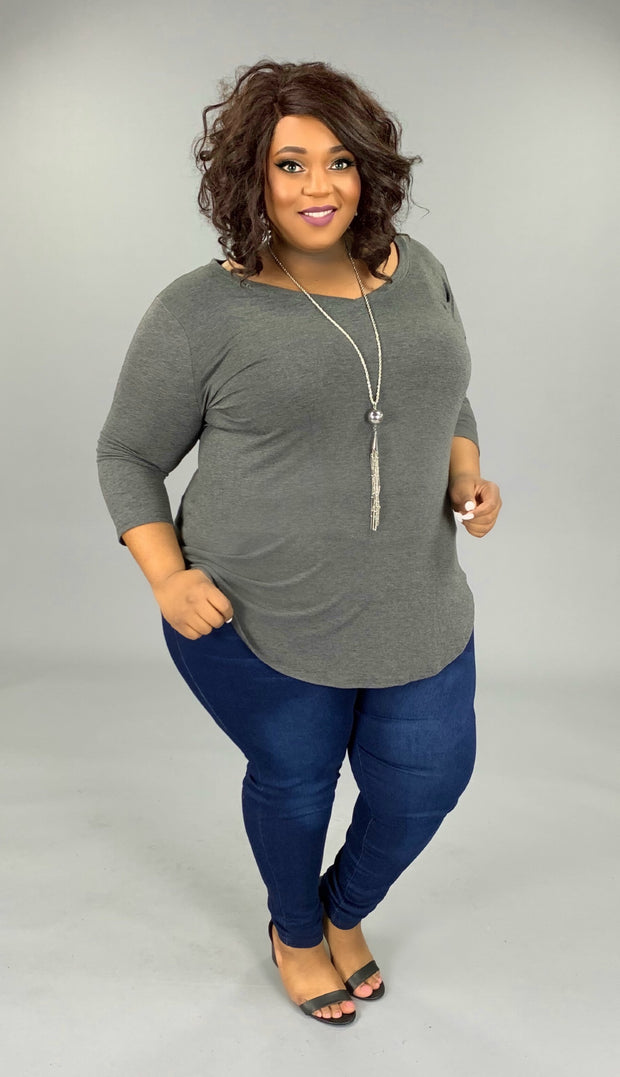 SQ-F {Anything Goes} Charcoal V-Neck Tunic with 3/4 Sleeves PLUS SIZE 1X 2X 3X