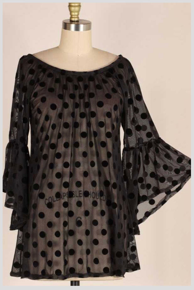 SD-C {Dot Your I's} Black Sheer Tunic W/Velvet Polka Dots PLUS SIZE 1X 2X 3X