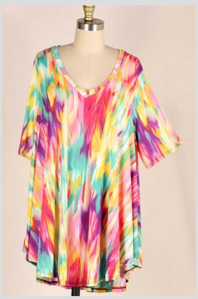 PSS-Z {Broken Glass} Watercolor Print Tunic EXTENDED PLUS SIZE 3X 4X 5X