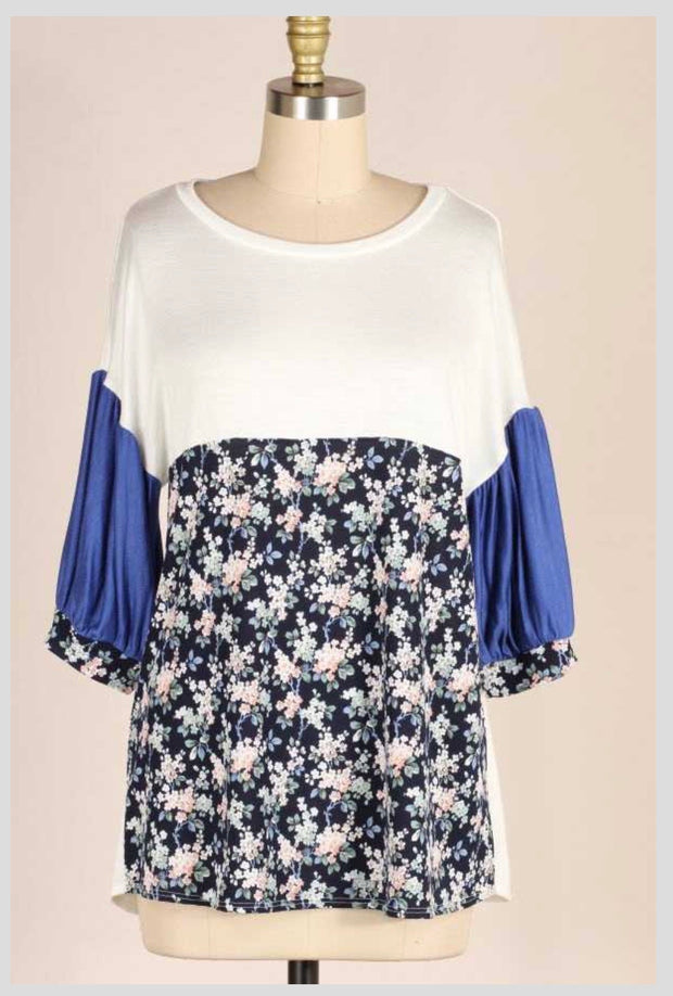 CP-F {Taking A Stroll} Ivory/Floral Contrast Bubble Sleeve Tunic PLUS SIZE 1X 2X 3X SALE!!