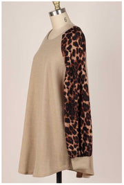 CP-G {Too Cute} Beige Knit Top Brown Leopard Sleeve PLUS SIZE XL 2X 3X