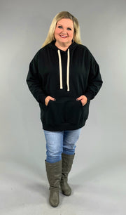HD-N {Let's Be Casual}  SALE!! Black Sweatshirt Hoodie with Front Pocket
