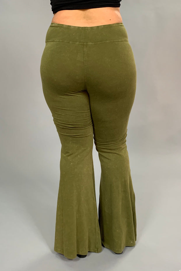 "BT-P ""UMGEE"" Olive Prewashed Cotton Flared Leg Pants"