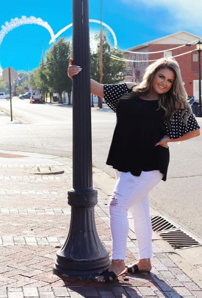 OS-Z {Soft Spoken} Black Polka Dot Cold Shoulder Tunic CURVY BRAND EXTENDED PLUS SIZE 3X 4X 5X 6X SALE!!