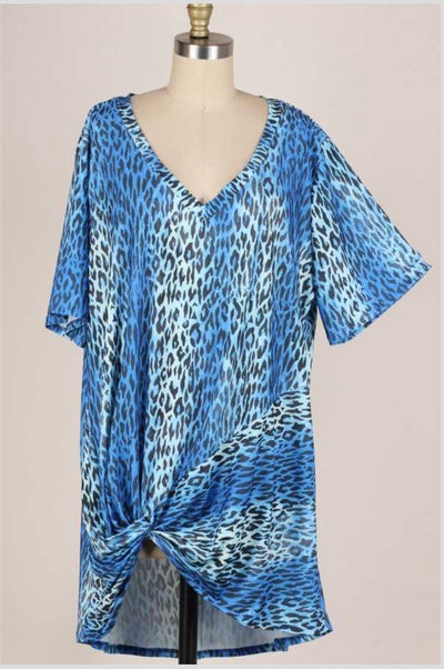 61 PSS-C {Cool Cat} Blue Leopard Knot Detail V-Neck Tunic EXTENDED PLUS 3X 4X 5X