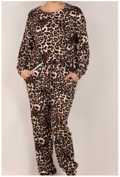 SET-C {Like To Lounge}  Brown Taupe Leopard Soft Knit Lounge Set PLUS SIZE XL 2X 3X