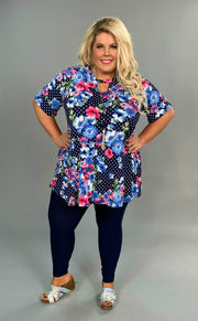 PSS-H {Can't Decide} Navy Polka-Dot Floral  Keyhole Tunic SALE!!