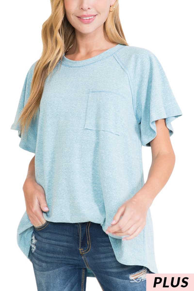61 SSS-B {Comfy Cutie} Light Blue Top with Pocket PLUS SIZE 1X 2X 3X