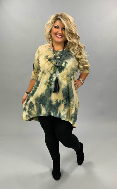 PSS-D {Give A Little Love} Mocha & Charcoal Tie Dye Hi Low Tunic BUTTER SOFT CURVY BRAND EXTENDED PLUS SIZE 3X 4X 5X 6X