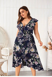 LD-M {After Midnight} Navy Floral Print Wrap Dress Extended Plus