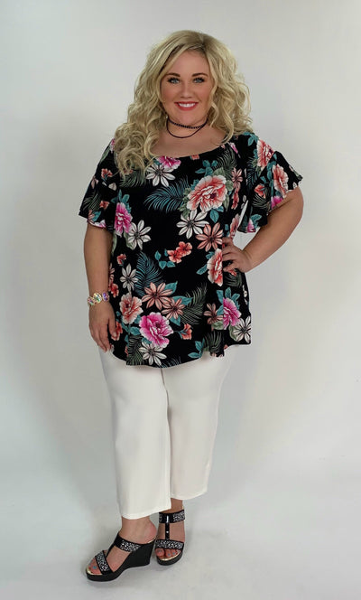 OS-T {Flower Hour} Black Tropical Floral Print Tunic FLASH SALE!!