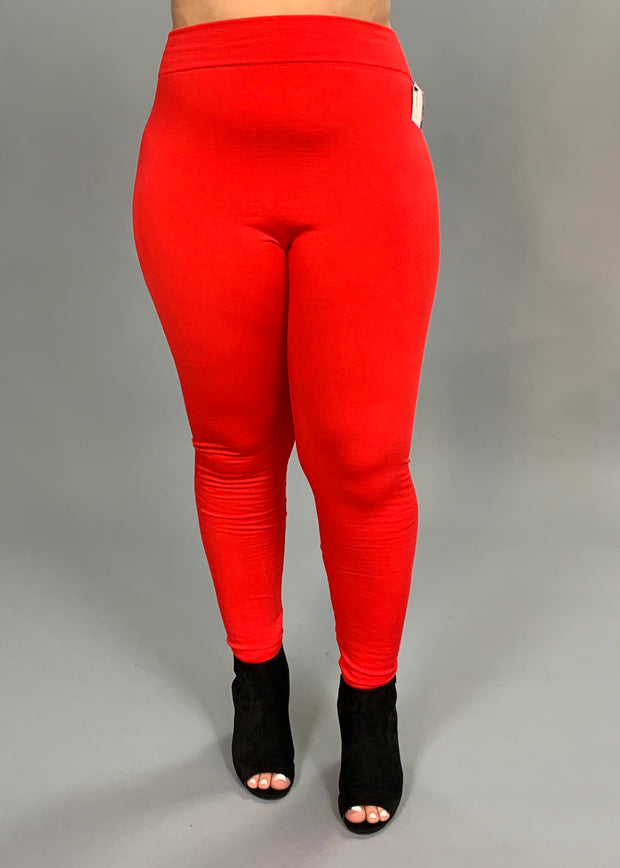 "LEG-P ""AURA VIA"" Stretchy Red Fleece Leggings"