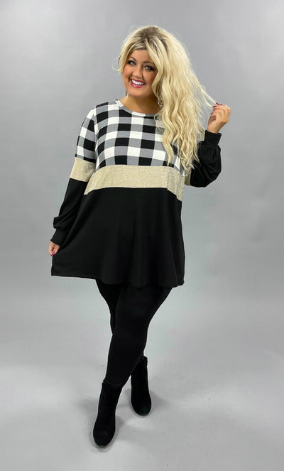 42 CP-M {Keep The Party} SALE!!  Black White Plaid Glitter Tunic CURVY BRAND EXTENDED PLUS SIZE 3X 4X 5X 6X