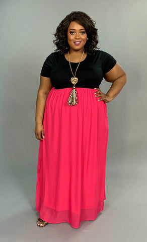 LD-H {Sweetest Delight} Black/Hot Pink Maxi Dress w/ Lining