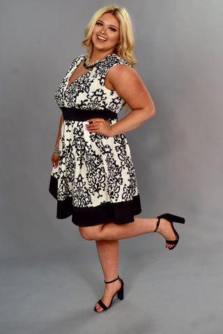 CP-W {Fancy That} Ivory/Black Damask Print V-Neck Dress