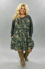 10-16 CP-G {First Rank} Green Grey Camo Dress CURVY BRAND EXTENDED PLUS SIZE 3X 4X 5X 6X