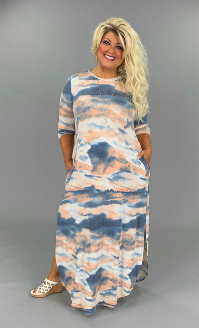 LD-M {Jamaica Me Happy} Blue/Blush Tie-Dye Maxi Dress PLUS SIZE 1X 2X 3X