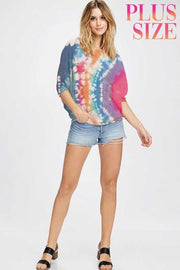PSS-B {Colorful Days} Tan Tunic W/Multi Color Tie Dye PLUS SIZE 1X 2X 3X SALE!!