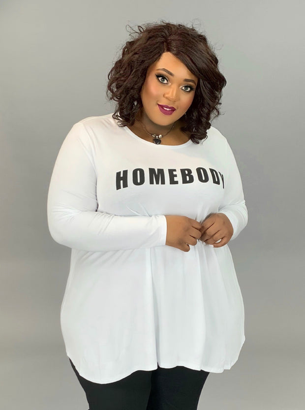 GT-Q {HOMEBODY} White Long Sleeved Graphic Tee EXTENDED PLUS SIZE 3X 4X 5X 6X